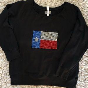 Off the shoulder Texas flag rhinestone sweatshirt